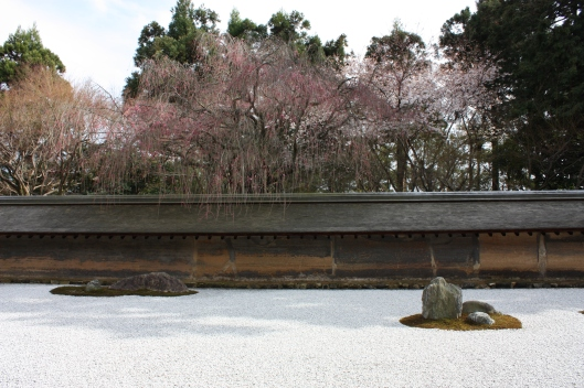 Ryoanji temple's stone garden in early spring