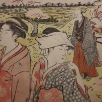 Birds, woman, cherry blossoms or hell, Classical Japanese paintings