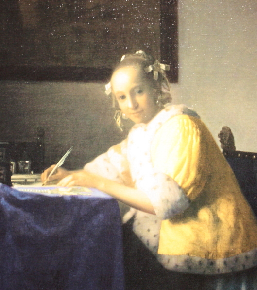 Vermeer_A Lady writing a Letter (part)