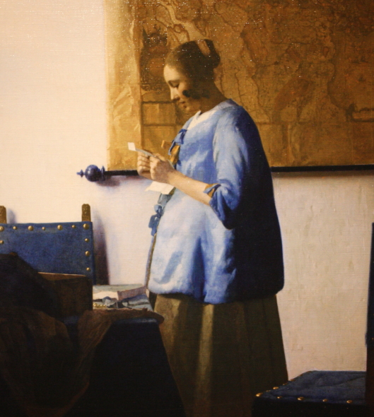 Vermeer_Woman in Blue reading a Letter (part)