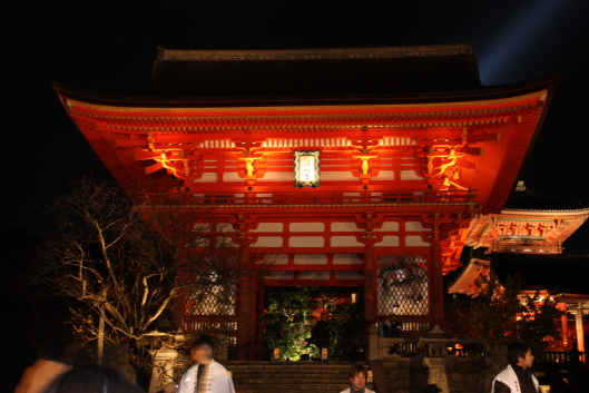 Such a structure is called 'Kake-zukuri' (overhang method of construction) or 'Butai-zukuri' (the construction style like a stage).